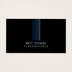 Videographer Business Card Blue Beams at Zazzle