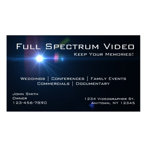 Videographer Business Cards Business Card Template