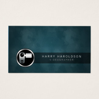 Videographer VideoCamera Icon Grunge Business Card