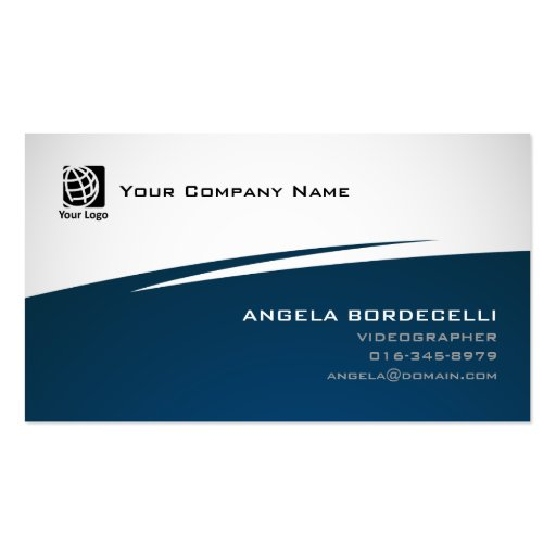 Videographer visual artsmedia abstract blue zigzag for Videographer business cards