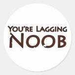 Videojuego y juego - usted es Noob de Pegatina Redonda