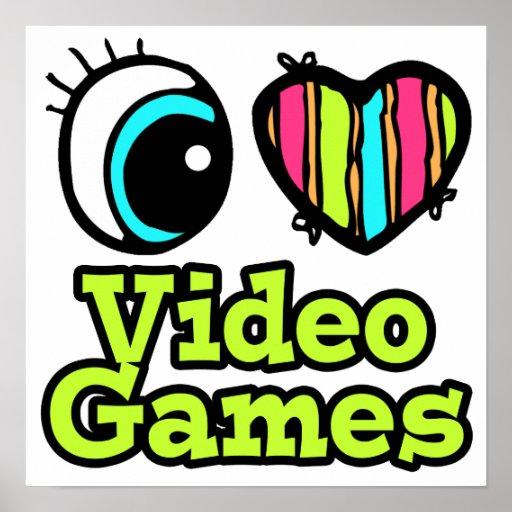 Videojuegos brillantes del amor del corazón I del  Póster