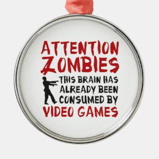 Videojuegos de los zombis de la atención adorno navideño redondo de metal