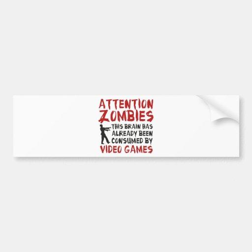 Videojuegos de los zombis de la atención etiqueta de parachoque