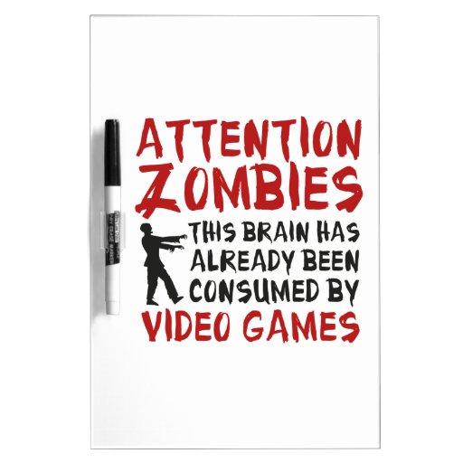 Videojuegos de los zombis de la atención pizarras blancas de calidad