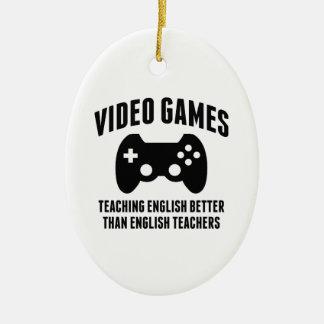 Videojuegos que enseñan a inglés adorno navideño ovalado de cerámica