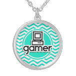Videojugador; Aguamarina Chevron verde Collar Personalizado