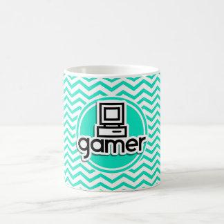 Videojugador; Aguamarina Chevron verde Tazas De Café