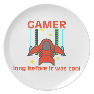 Videojugador antes de que fuera estilo retro fresc plato de comida