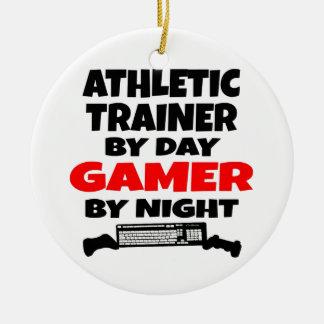 Videojugador atlético del instructor adornos