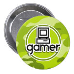 Videojugador; camo verde claro, camuflaje pin redondo 7 cm