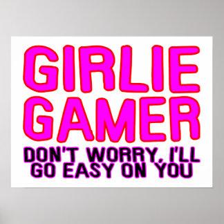 Videojugador de Girlie que va fácil Póster