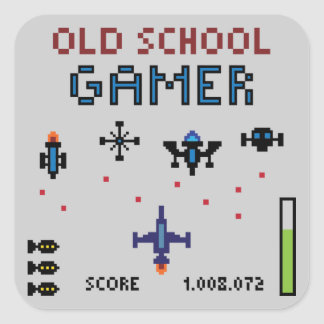 Videojugador de la escuela vieja - nave espacial - calcomanías cuadradass