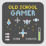 Videojugador de la escuela vieja - Stellarship - Pegatina Cuadrada