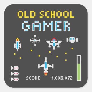 Videojugador de la escuela vieja - Stellarship - Calcomanía Cuadradas Personalizadas