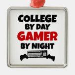 Videojugador de la universidad ornamento para arbol de navidad