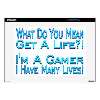 Videojugador de muchas vidas calcomanía para 38,1cm portátil