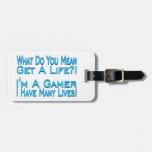 Videojugador de muchas vidas etiquetas para equipaje