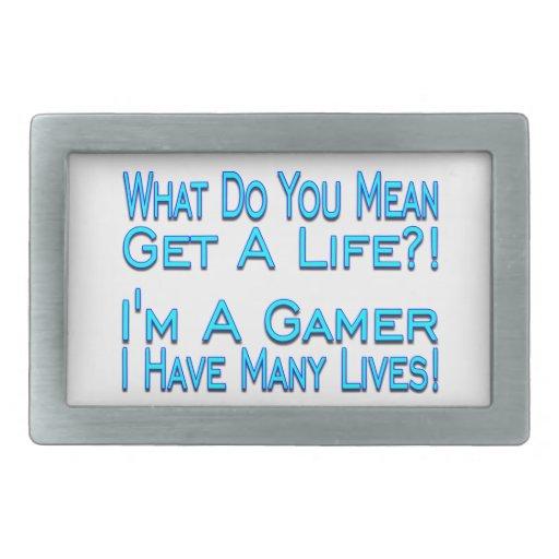 Videojugador de muchas vidas hebilla de cinturon rectangular