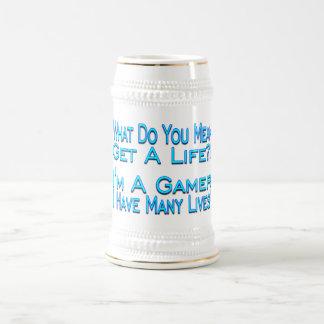 Videojugador de muchas vidas jarra de cerveza