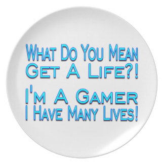 Videojugador de muchas vidas plato de comida