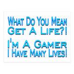 Videojugador de muchas vidas postal