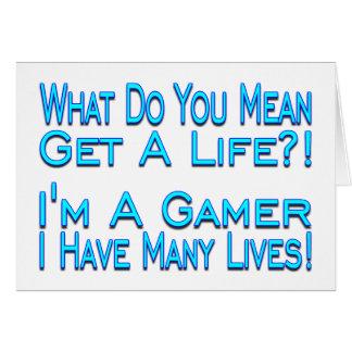 Videojugador de muchas vidas tarjetón