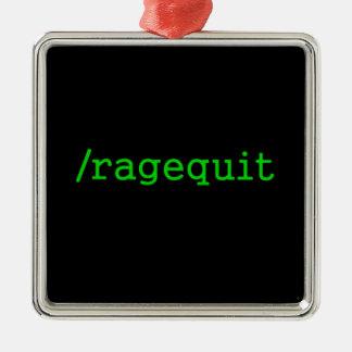 Videojugador de Ragequit Adorno Navideño Cuadrado De Metal