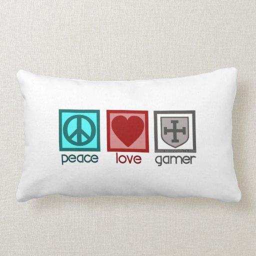 Videojugador del amor de la paz cojines