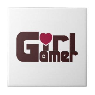 Videojugador del chica azulejo cuadrado pequeño