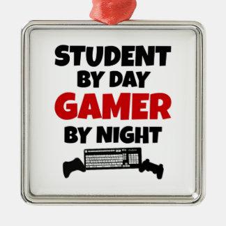 Videojugador del estudiante adorno navideño cuadrado de metal