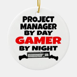 Videojugador del gestor de proyecto adorno navideño redondo de cerámica