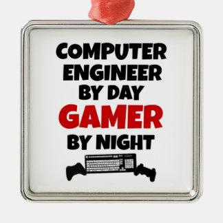 Videojugador del ingeniero informático adorno navideño cuadrado de metal