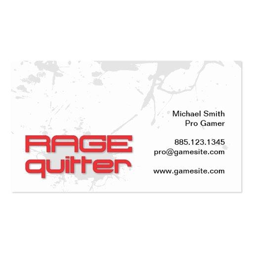 Videojugador del Quitter de la rabia Tarjetas De Visita