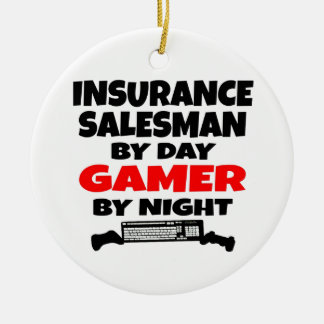 Videojugador del vendedor de seguro adorno redondo de cerámica