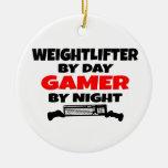 Videojugador del Weightlifter Ornaments Para Arbol De Navidad