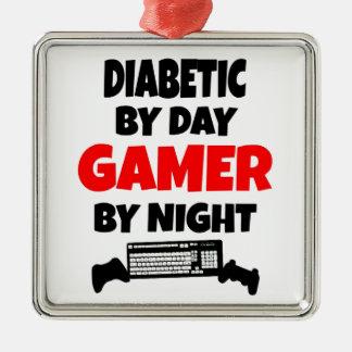 Videojugador diabético adorno navideño cuadrado de metal