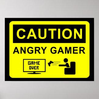 Videojugador divertido póster