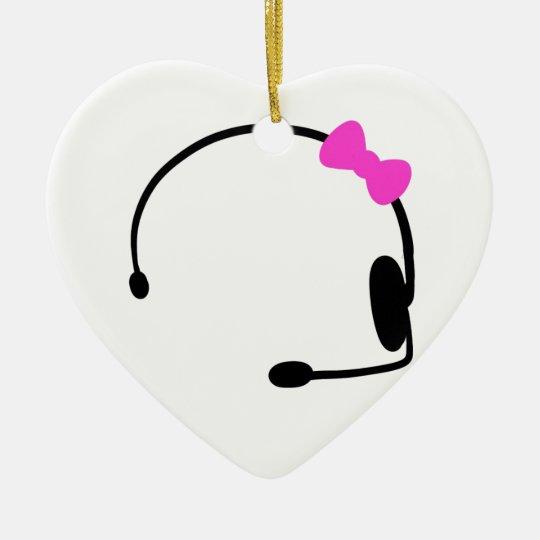 Videojugador femenino adorno navideño de cerámica en forma de corazón