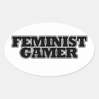 Videojugador feminista calcomanías ovaladas