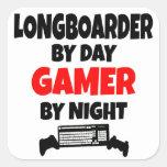 Videojugador Longboarder Calcomanía Cuadradas