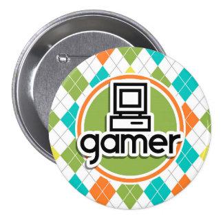 Videojugador; Modelo colorido de Argyle Pin Redondo De 3 Pulgadas