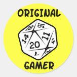 Videojugador original d20 pegatinas redondas