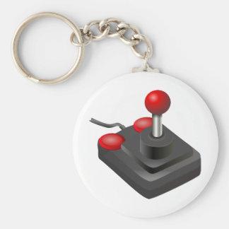 Videojugador - palanca de mando llavero redondo tipo pin