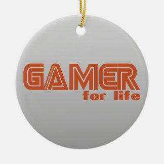 Videojugador para la vida adorno redondo de cerámica
