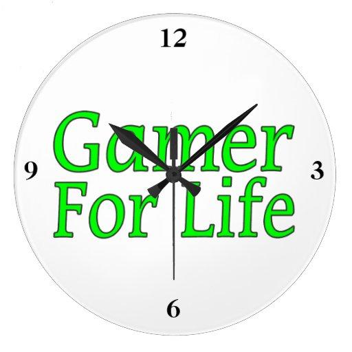 Videojugador para la vida reloj redondo grande
