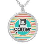 Videojugador, rayas brillantes del arco iris colgantes personalizados