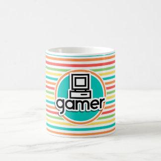 Videojugador, rayas brillantes del arco iris tazas