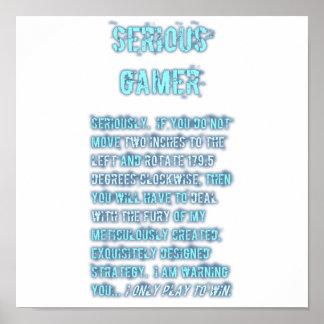 Videojugador serio - azul póster