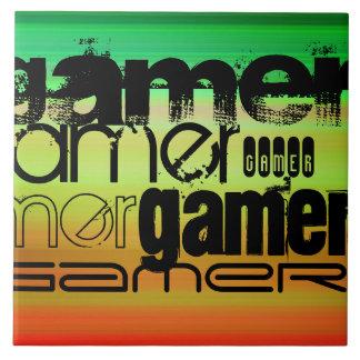 Videojugador; Verde vibrante, naranja, y amarillo Azulejo Cuadrado Grande